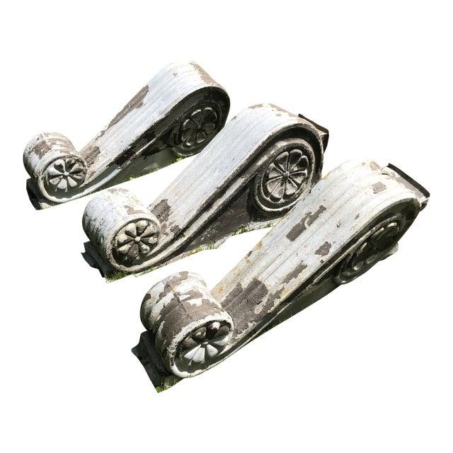 "Antique Victorian Era Large 30"" Zinc Distressed Decorative Corbels - Set of 3 For Sale"