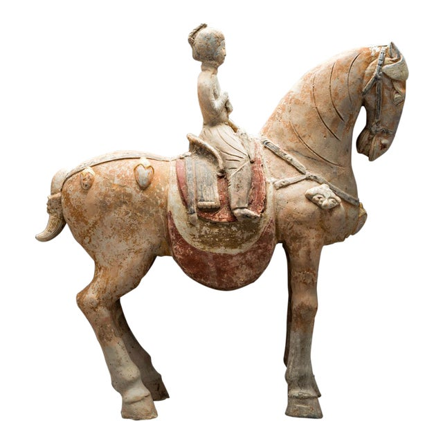 Tang Painted Terracotta Sculpture of a Horse and Female Rider For Sale