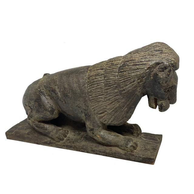 Mid 19th Century Mid 19th Century Folk Art Style Carved Wooden Lion For Sale - Image 5 of 6