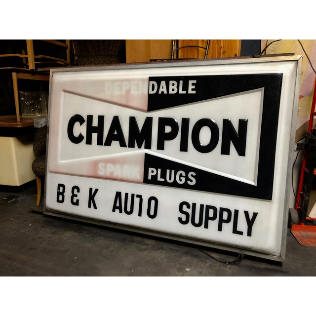 Wowza. Original Everbrite 70s Vintage CHAMPION Auto-Supply Store Sign in *just right* original condition for customizing...