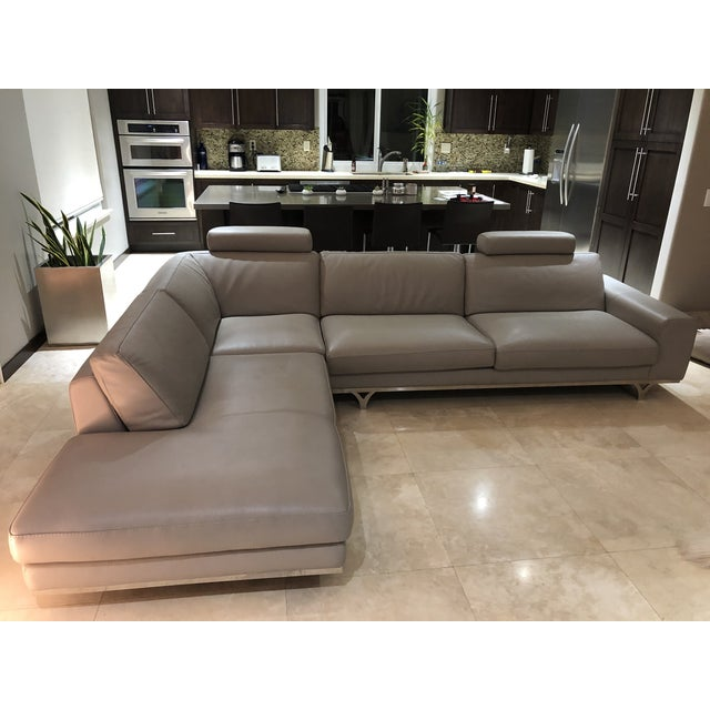 Modern Roche Bobois Gray Leather Sectional Sofa For Sale - Image 10 of 11