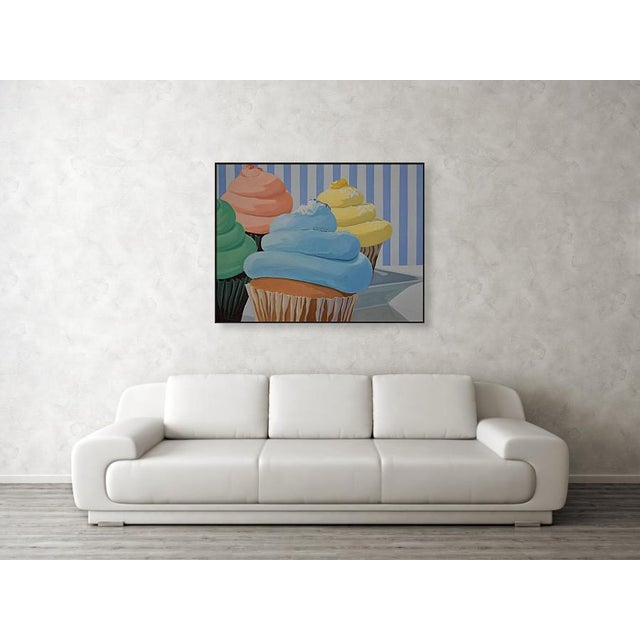 Modern Four Cupcakes' Large Painting by Modern Expressionist George Brinner For Sale - Image 3 of 4