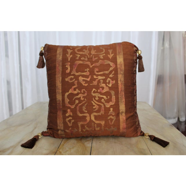 This is a one-of-a-kind Burnished Russet Silk Pillow with Tassells by Isabelle H. Painted Textiles. The cover itself was...