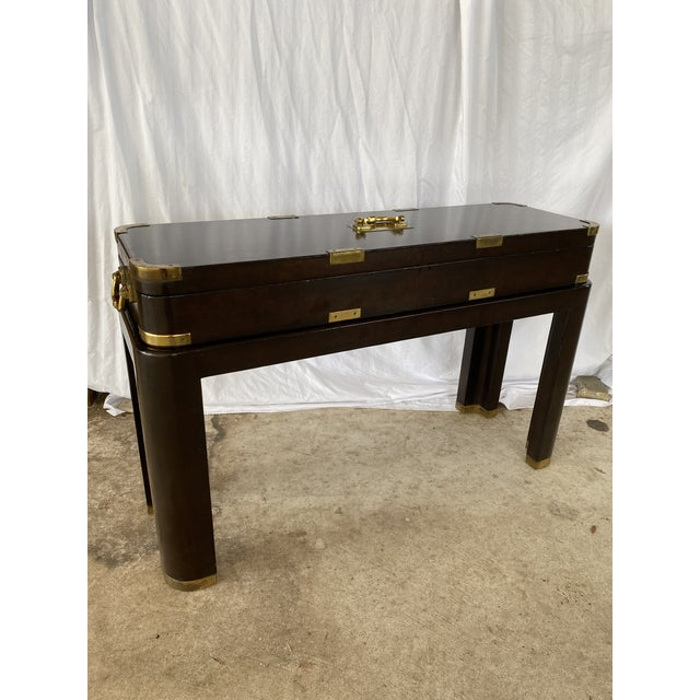 Maitland-Smith Campaign Lather Wrapped - Console Table - a Pair For Sale - Image 10 of 13