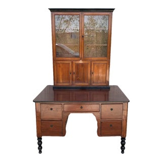 French Provincial Plantation Style Walnut Secretary Desk and Bookcase, 19th C. For Sale