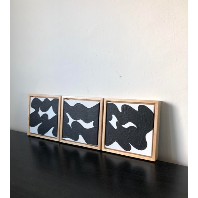 Hannah Polskin original 2019 black and white abstract acrylic painting on MDF art board with wood floater frame....