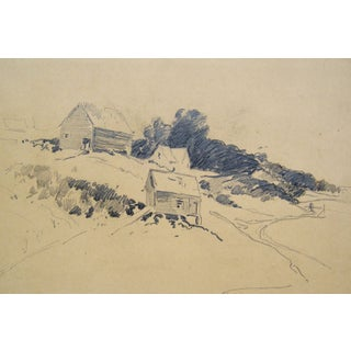 Hillside Farm Pencil Study For Sale