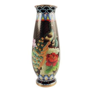 Cloisonne Peacock Vase For Sale