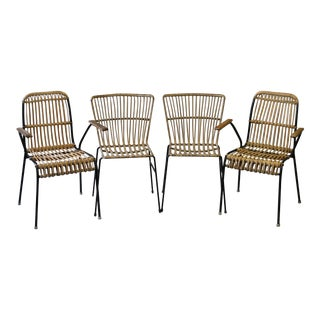 Set of 4 French Woven Rattan & Wrought Iron Side and Arm Chairs For Sale