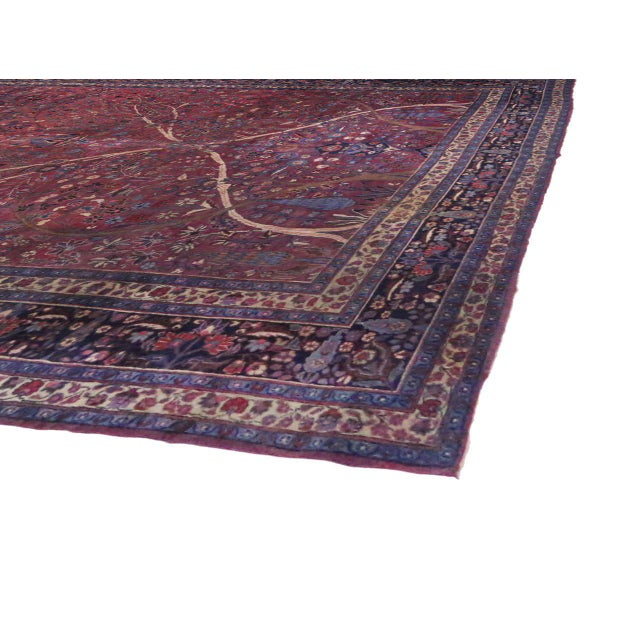 Blue Captivating Antique Persian Mashhad Gallery Rug in Jewel Tone Colors For Sale - Image 8 of 10