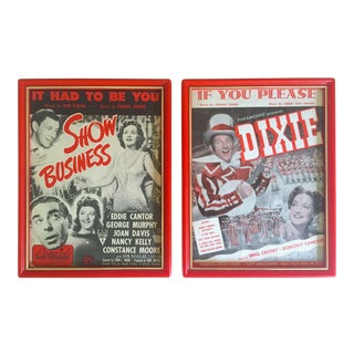 Vintage 1939 & 1943 Rare Movie Musicals Framed Original Sheet Music Art Prints - Set of 2 For Sale