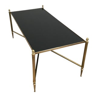 Brass and Black Glass Coffee Table by Maison Jansen