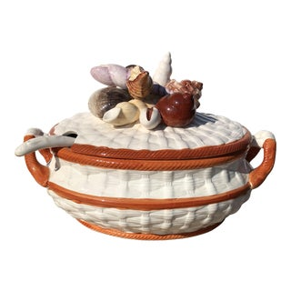 Vintage Majolica Basketweave Seashell Soup Tureen