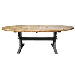 Oval Pine Farm Dining Table For Sale
