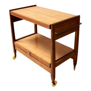 Mid-Century Modern Expandable Bar Cart by John Keal for Brown Saltman For Sale