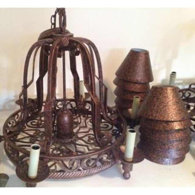 Traditional Island Rustic Copper Kitchen Led Chandelier For Sale - Image 3 of 5