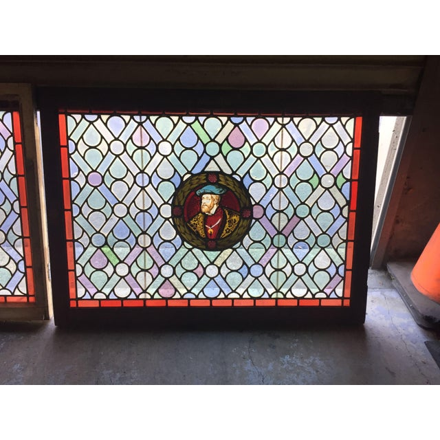 Antique Gothic Stained Glass Panels- a Pair For Sale - Image 4 of 12