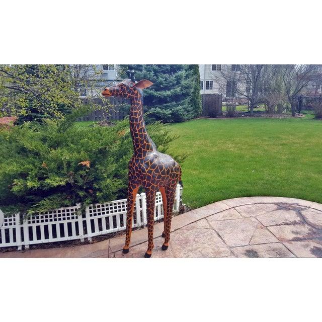 Handmade Leather Giraffe Figurine For Sale - Image 5 of 5