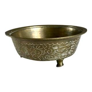 Vintage Hollywood Regency Etched Brass Footed Bowl For Sale