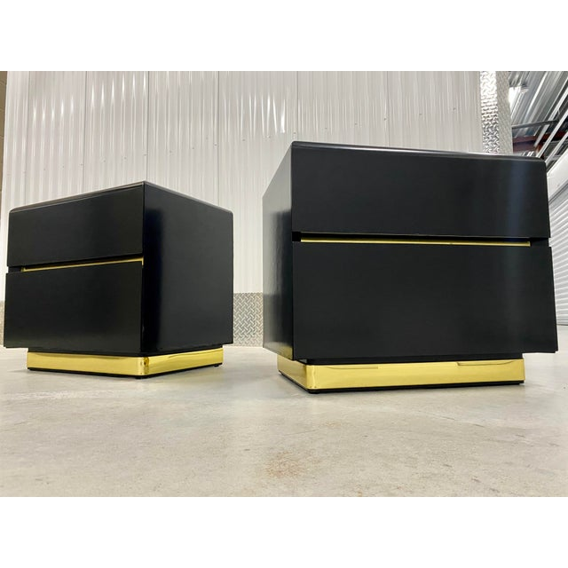 Black Lane Black Lacquer & Brass Side Tables - a Pair For Sale - Image 8 of 8