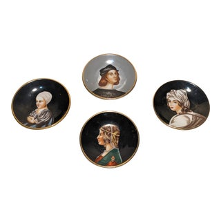 1940s Andrea S Hand Painted Miniature Portrait Hanging Plates, Made in Occupied Japan - Set of 4 For Sale