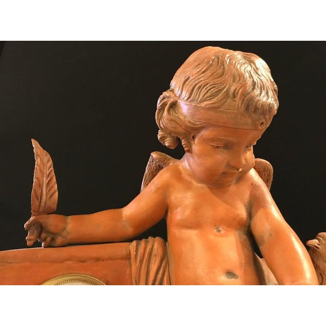 Bronze French Terracotta Cherub Mantle Clock For Sale - Image 7 of 11