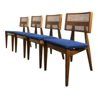 Set of Four Early George Nelson Cane Dining Chairs, 1940's