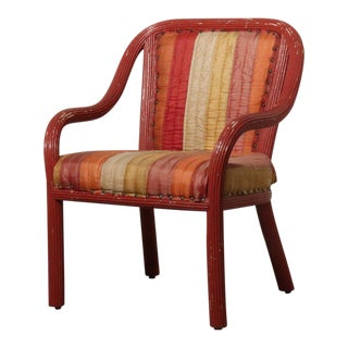 Bohemian Striped Sherbet Pencil Reed Arm Chair For Sale