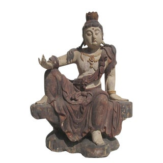 Chinese Antique Sitting KwanYin Statue For Sale