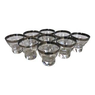 Vintage Mid-Century Modern Silver Rim Shot Glasses W/Ball Stem - Set of 9 For Sale