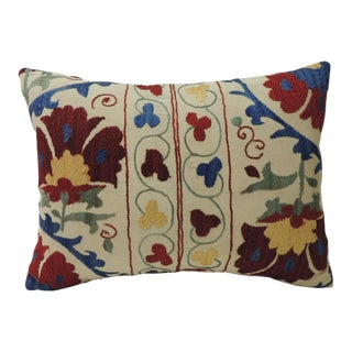 "Vintage Colorful Floral Embroidery ""Suzani"" Decorative Bolster Pillow For Sale"