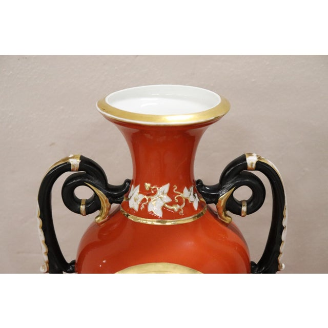 20th Century French Empire Style Hand Painted Red Ceramic Amphora Vase, 1920s For Sale - Image 6 of 13