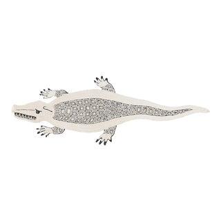 "Modern Schumacher Charlap Hyman & Herrero Caiman Natural Abaca Alligator Rug 9' 5"" x 3' 5"""