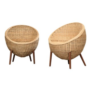 Rattan Barrel Tub Chairs Danish Modern Style With Wood Legs - Pair