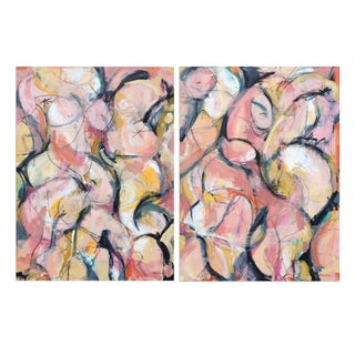 "Figurative Landscape II, Mixed Media On Canvas - Diptych 60 x 40"" by Heidi Lanino For Sale"