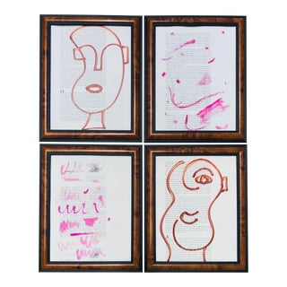 Pink and Brown Abstract Paintings by Virginia Chamlee - Set of Four For Sale