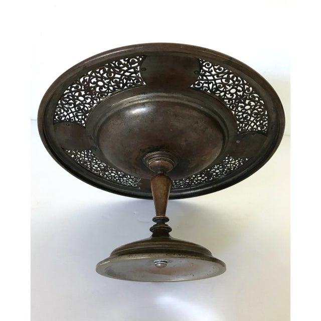 Early 20th Century Antique Persian Brass & Enamel Blue Birds Cloisonné Tazza / Centre Piece For Sale - Image 5 of 6