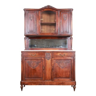 19th Century French Carved Walnut Marble Top Sideboard With Hutch For Sale