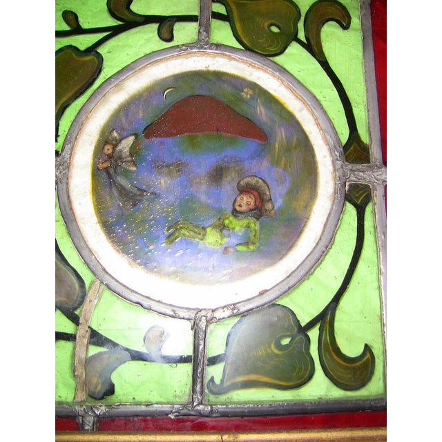 Irish Stained and Hand Painted Glass Panel of Fairy and Leprechaun - Unique For Sale - Image 4 of 11