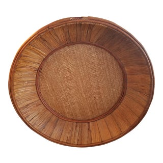 African Wood and Grass Basket For Sale