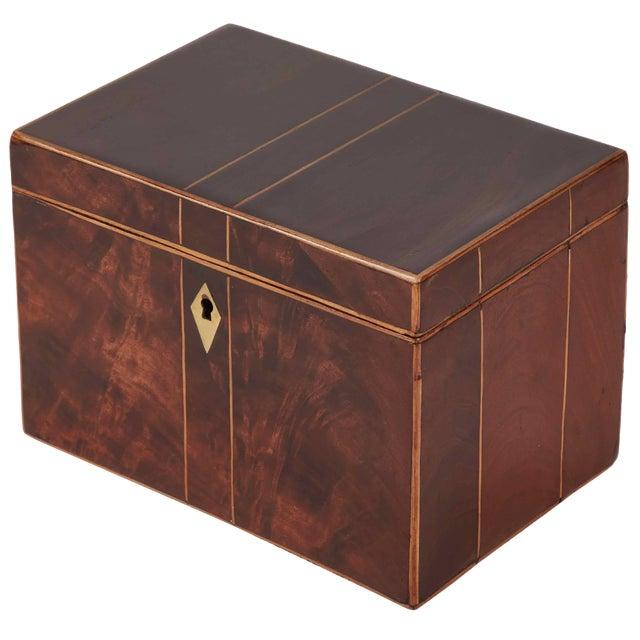 Early 19th Century English George III Mahogany Tea Caddy For Sale