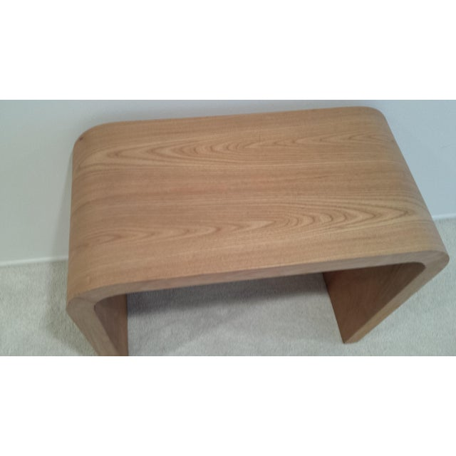 Traditional Contemporary Oak Waterfall Console Table For Sale - Image 3 of 9