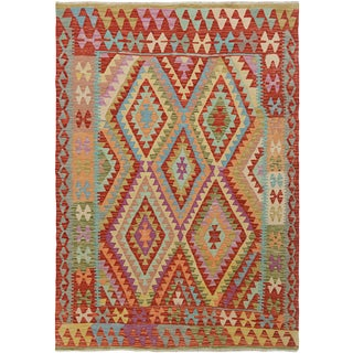"Hand Knotted Traditional Design Wool Uzbek Rug. 5'1"" X 6'2"" For Sale"