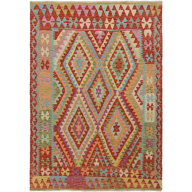 """Hand Knotted Traditional Design Wool Uzbek Rug. 5'1"""" X 6'2"""" For Sale"""