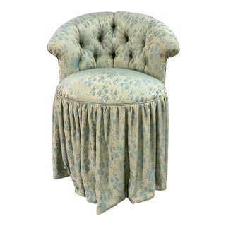 Bella Notte Fabric Upholstered Swivel Vanity Chair For Sale