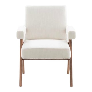 Vesta Nora Linen Dining Chair in Natural and White For Sale