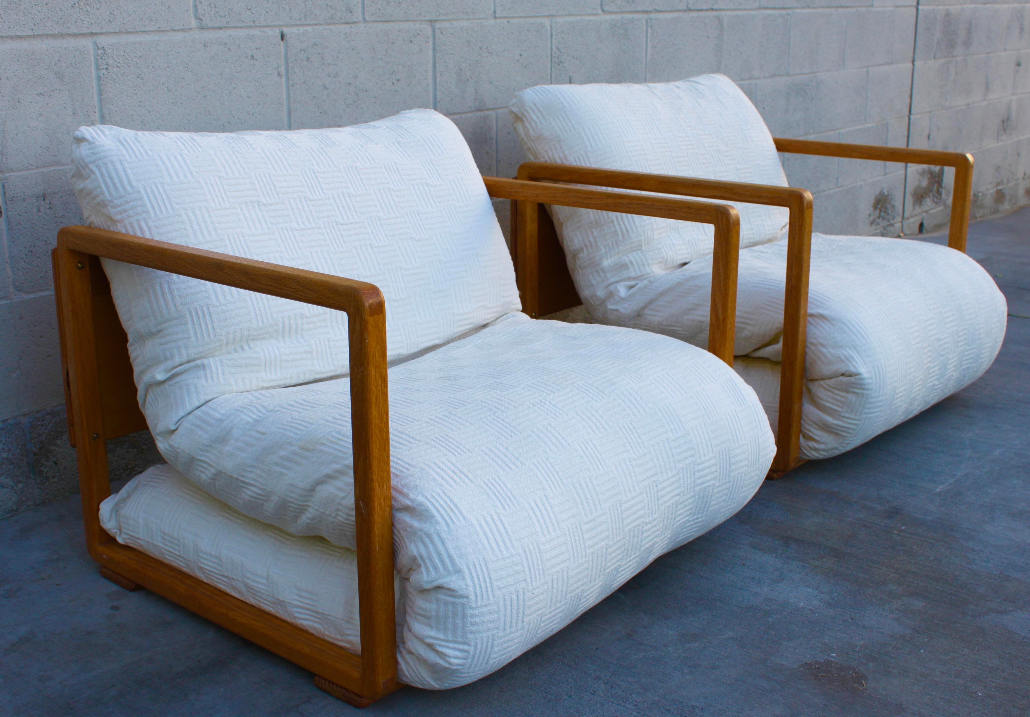 Solid Wood Mid Century Japanese Futon Lounge Chairs   A Pair   Image 5 Of 11