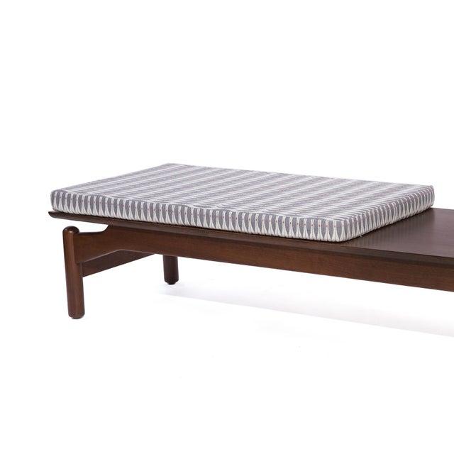 Boho Chic Greta Grossman for Glenn of California Walnut and Upholstered Bench For Sale - Image 3 of 6
