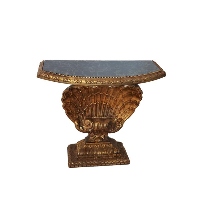 Wood Antique Jansen Shell Base Gold and Glass Top Demilune Table For Sale - Image 7 of 7