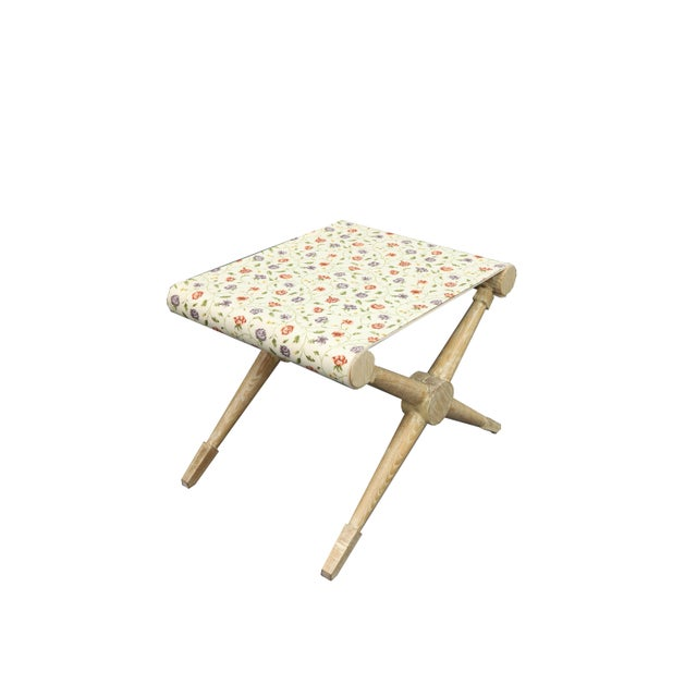 Late 20th Century Late 20th Century Indigo and Red Flower Linen Camp Stool For Sale - Image 5 of 6